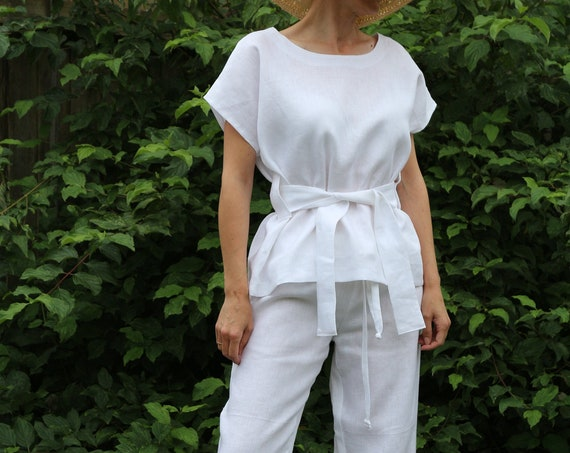 Linen top/ Linen tunic/ Linen top for women/ Summer tunic / Womens linen tunic / White linen tunic / Linen tunic for women