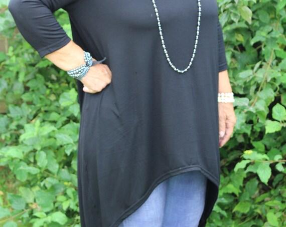 Black top/ Womens black top / Long sleeve top / Black shirt / Asymmetric top / Womens top / Womens blouse / Black blouse