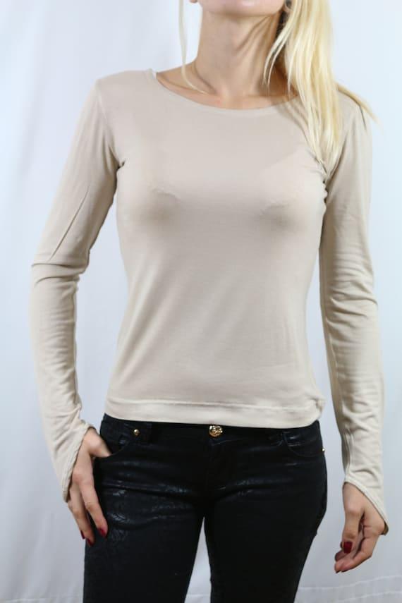 Jersey top/ Long sleeve top / Beige top / Long sleeve top for women