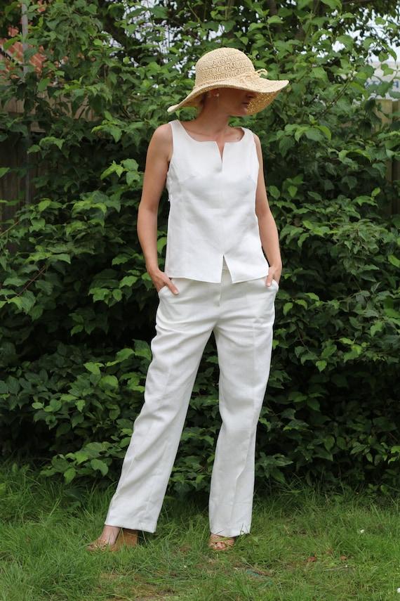 Linen set/  Linen vest and trousers / Linen vest / Linen trousers / White linen trousers / Womens trousers / Linen top / White linen top