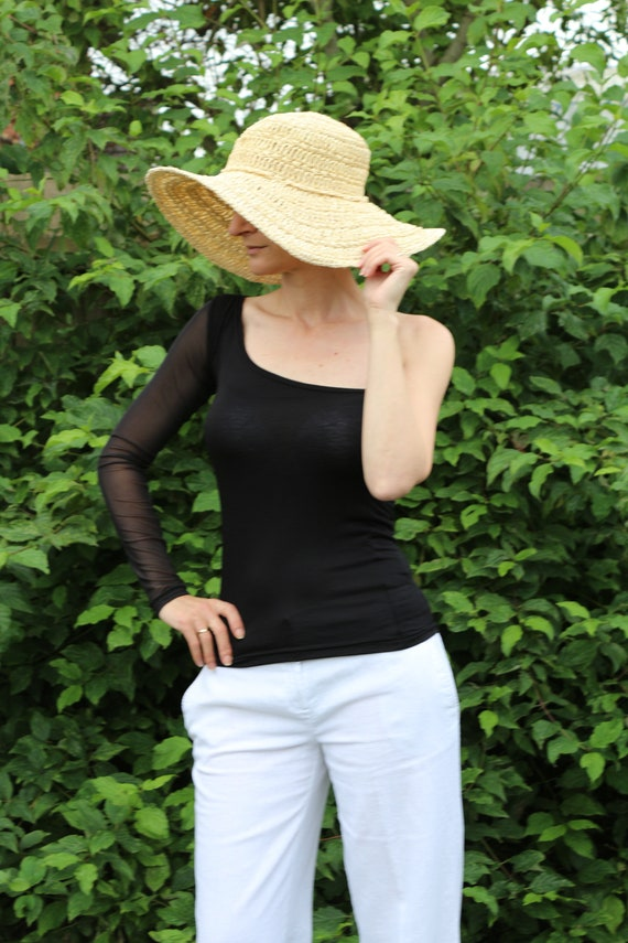 Black top/ Black top women/ Long sleeve top / Black shirt / Off shoulder top / Black blouse / Sexy top / Black off shoulder top