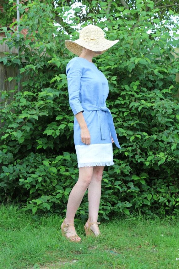Linen dress for women/ Linen dress / Summer dress / Linen kaftan /  Blue linen dress / Womens linen dress / Midi linen dress