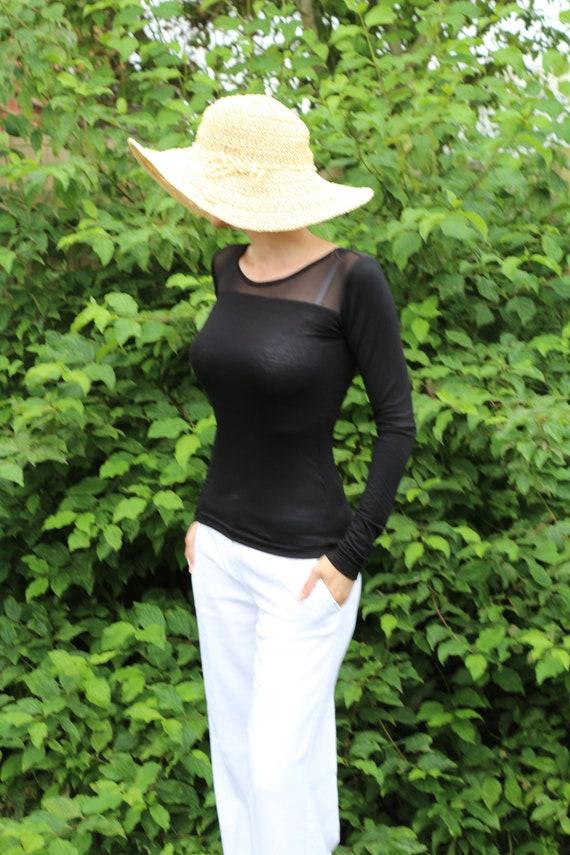 Black top/ Womens black top / Long sleeve top / Black shirt / Black long sleeve top / Womens top / Sexy top / Sheer top
