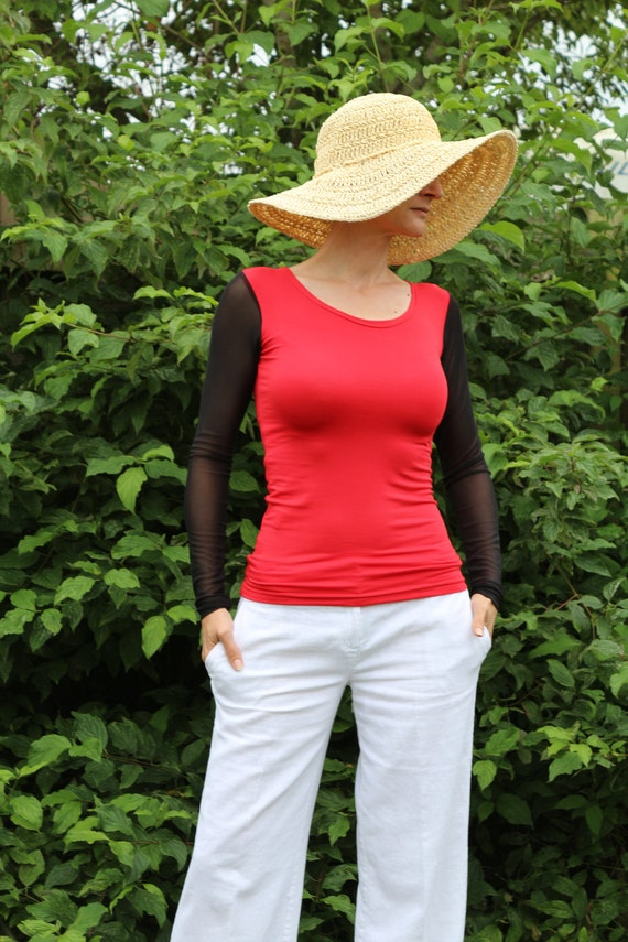 Red top/ Red top women/ Womens red top / Long sleeve top / Red shirt / Animal print top / Red blouse / Tops for women / Black tops in the UK