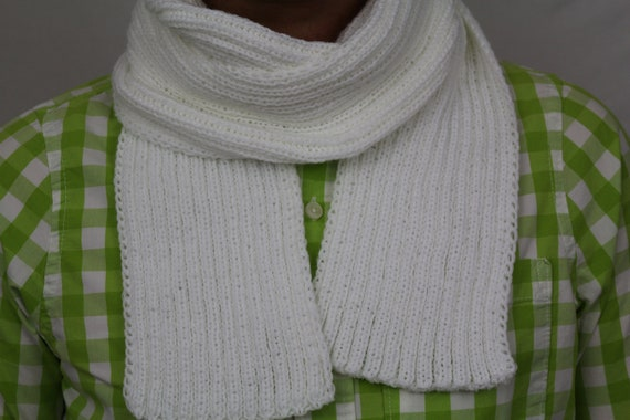 Knitted scarf/ white scarf