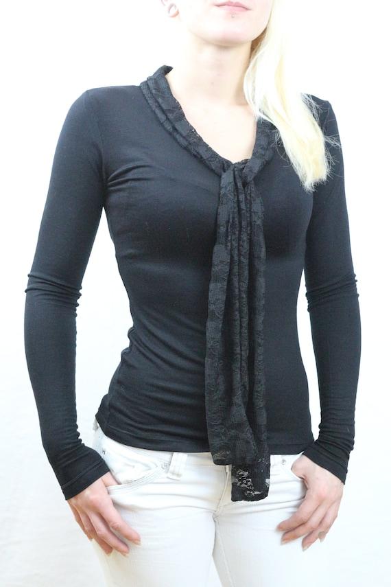 Women top/ Black top/ Long sleeve top / Black shirt / Black top for women