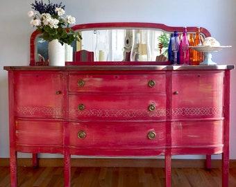 Dark Wood Mirrored Credenza : Mirrored sideboard etsy