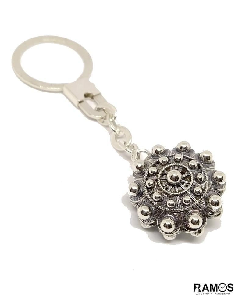 Charro Button Keychain in Silver