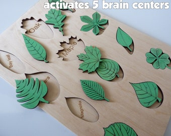 Leaf puzzle montessori toy toddler gift for baby, Eco toys gift for baby, Wooden toy puzzle leafs tree, wooden toys for toddlers montessori