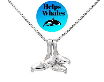 CELTIC FILIGREE WHALE TAIL SILVER PLATED PENDANT AND CHAIN SEA LIFE SURF NATURE