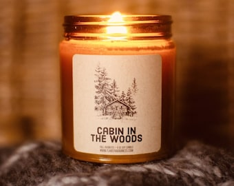 Cabin In The Woods Scented Fall Candle, Vegan Soy Wax Candle, Gift For Her, Handmade Candle, Autumn Candle