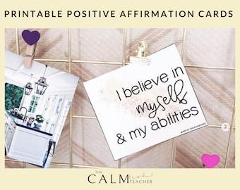 Printable Positive Affirmation Cards PDF