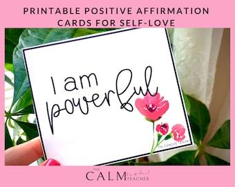 Printable Positive Affirmation Cards for Self-Love, Self-Love Affirmation Cards