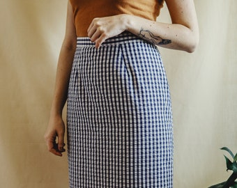 ca05ab0a3f Vintage high waisted gingham pencil skirt