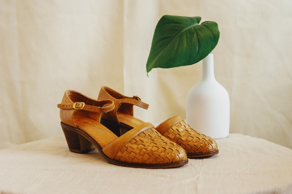 1980's woven leather pumps