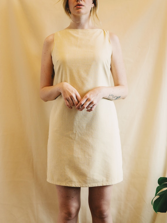 Vintage buttery yellow textured dress