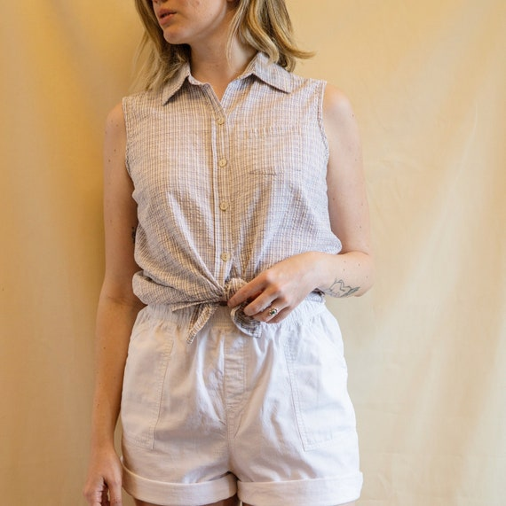Vintage 90s' lavender checkered cotton tank