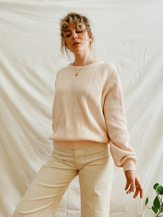 Vintage blush pink puff sleeve knit sweater