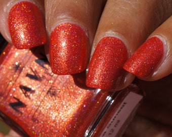 Mesa Sunset - orange nail polish with gold microflakes and holographic shimmer