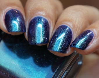 Space Eggplant - deep purple jelly base with multichrome shimmer shifting from green to blue to purple