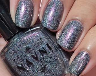 The Duke's Revenge - charcoal grey holographic nail polish with pink purple shimmer