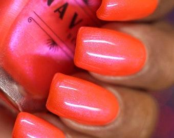 Duh. - neon orange nail polish with purple shimmer