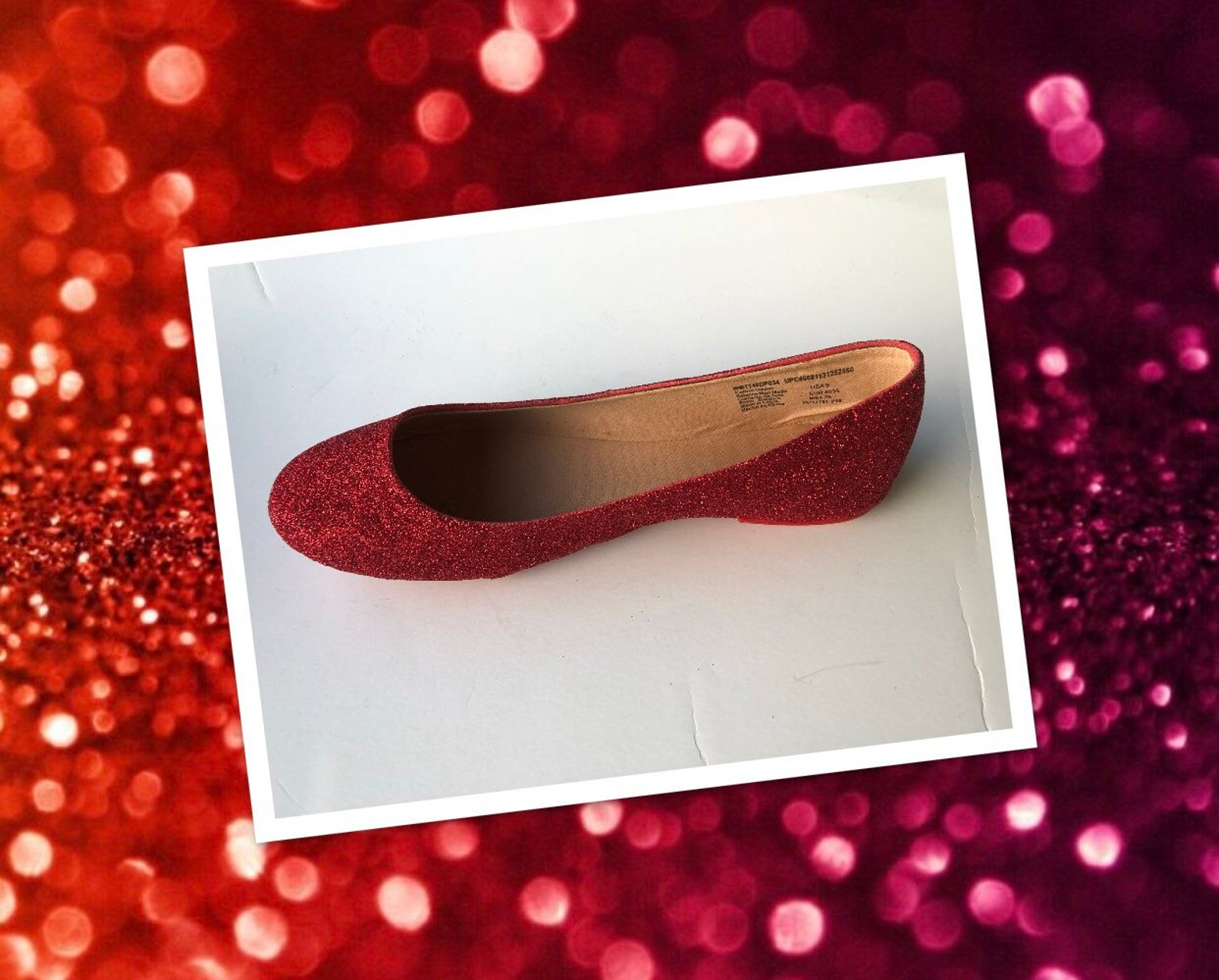 red ballet women's custom ruby red glittered ballet flats *free u.s shipping* jcodanseur shoes