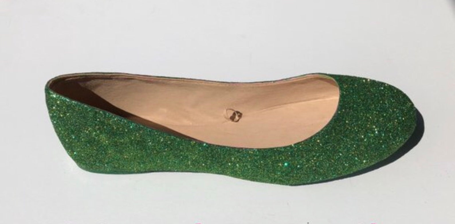bridal flat emerald green & gold glittered ballet flats *free u.s shipping* jcodanseur shoes