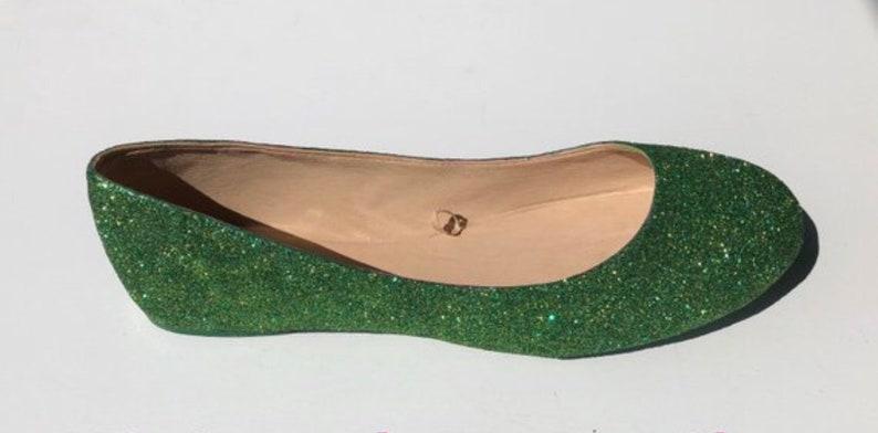 Glitter Flat Emerald Green /& Gold Glittered Bridal Wedding Ballet Flats   *Free U.S  Shipping* JCoDanseur Shoes