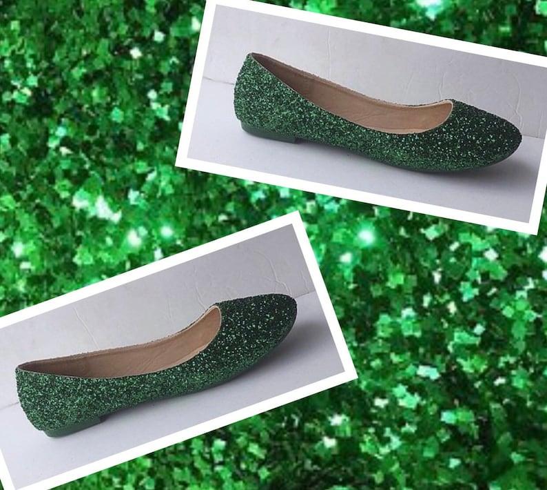 a7897bbfe8 Green Bridal Ballet Flat Women's Custom Emerald Green Glitter Ballet Flats  *Free U.S Shipping* JCoDanseur Shoes/Kitty Paws Shoes