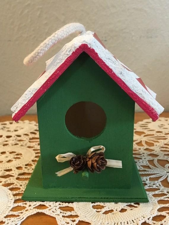 Christmas Birdhouses.Mosaic Christmas Birdhouse Ornament