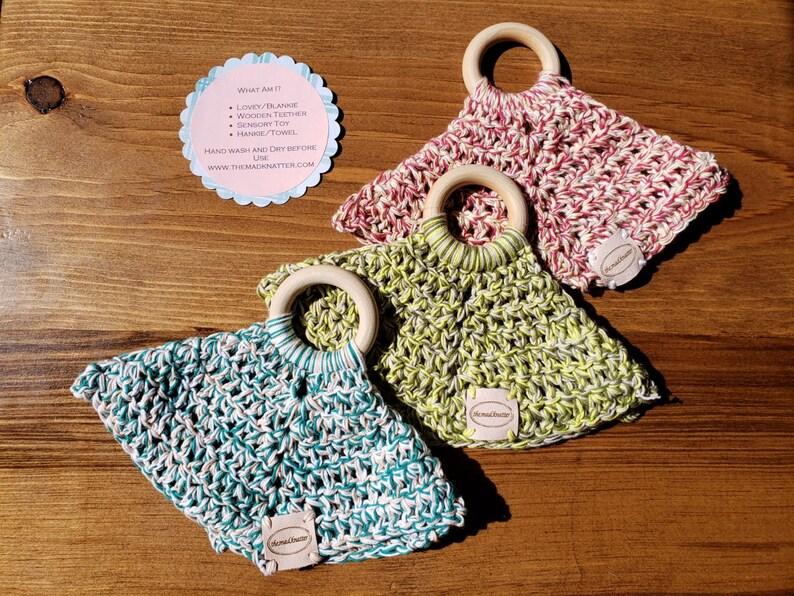 Crochet Baby Wooden Teether/Blankie Lovey/Teething image 0