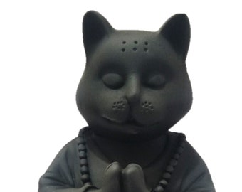 "SIGNED 8/"" CAT SIAMESE WOOD FIGURINE MEDITATING YOGA LOTUS POSITION HANDMADE"