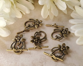 10pcs Flower toggle clasp Antique silver Toggle clasps for bracelet or necklace