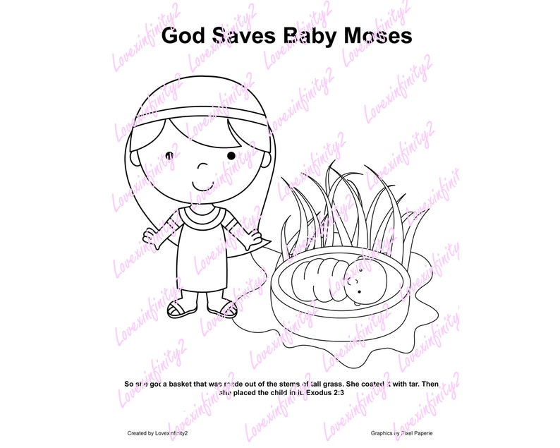 Kid Bible Activities, Bible Coloring Pages, Bible Memory Game, Moses