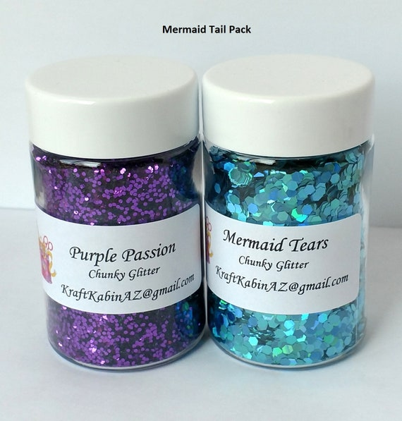 NEW Set Of Two Purple Mermaid Tail Ornaments Glitter Sparkle