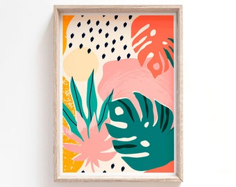 Botanical Abstract Art Print - Giclée Boho, Monstera Leaves, Plants, Pink, Green Wall Art