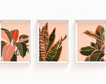 House Plants Art Print Set - Set of 3 Luxury Prints - Boho, Pink and Green, Greenery, Leaves Wall Art