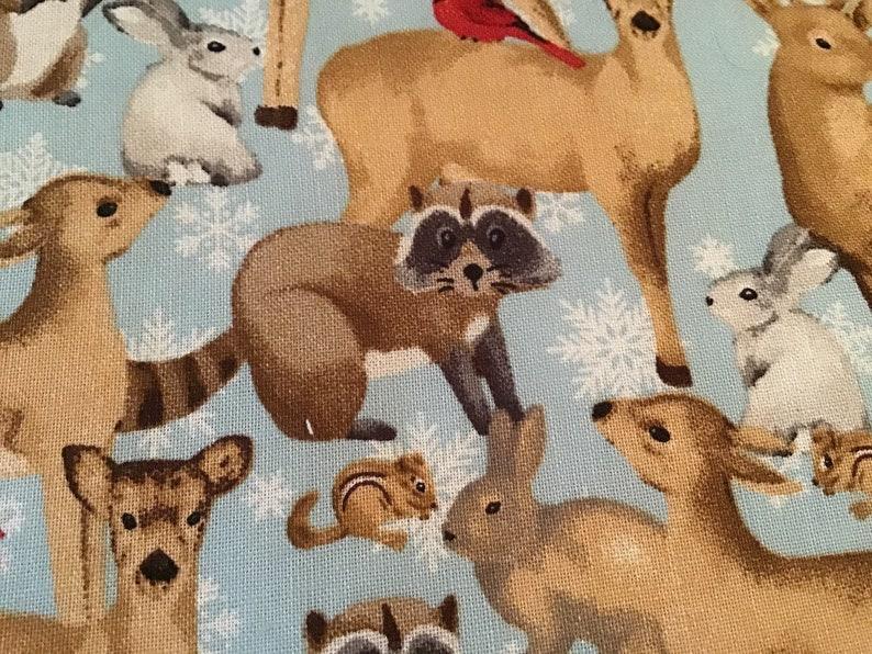 Deers and raccoons vinyl front project bag