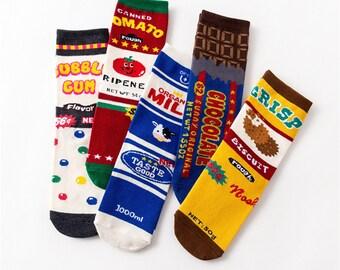 ac5a9ac8d8f58 Funny socks-Cute socks-Milk Chocolate Bubble Biscuits Tomato Food Short  Socks-best men's socks-women socks-unisex socks-Birthday gift
