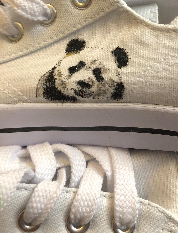 Scarpe da orso Panda dipinte a mano - Scarpe alla moda XEtj8U4q azJM1R lbn7Ei