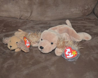 5383b30d9cd LOT Vintage TY Beanie Babies w  tags Spunky the Dog Cocker Spaniel + mini