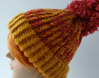 df60fbfa4e9 Giant Pom Pom Hat- Winter Hat- Bobble Hat