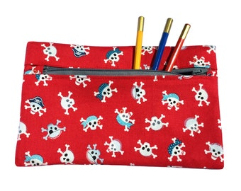 Pencil Case  Make Up Bag  Accessory Purse  Pirate Print