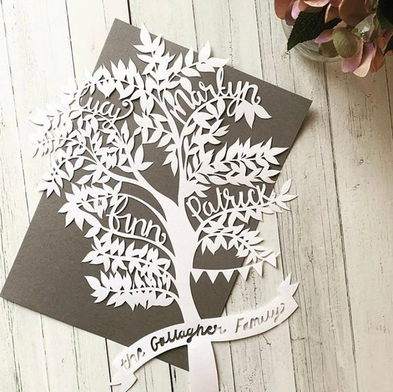 Budget friendly Family tree paper cut.
