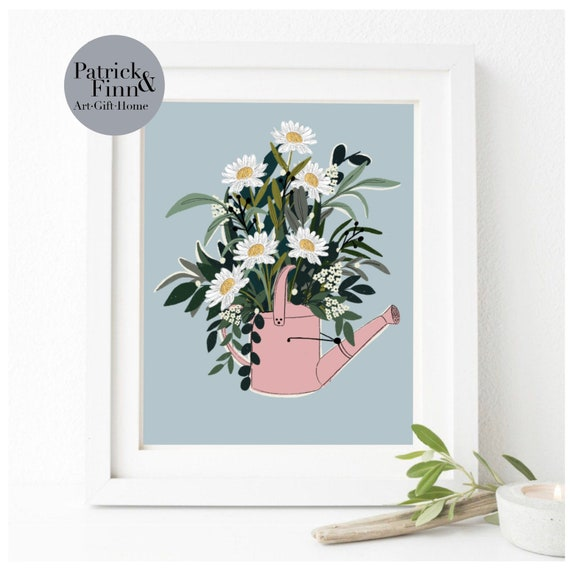 Print / watering can / illustration / digital art / artist / wall art / flowers / floral / A4 / A5 / artwork / for her / kitchen / pink