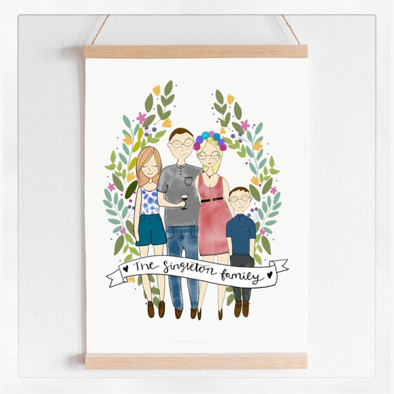 family, illustration ,print, daddy, mummy, family, dad,cartoon.