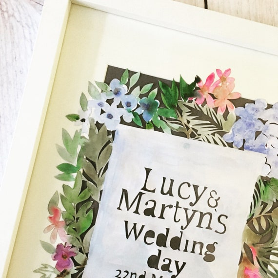 Wedding, gift, anniversary, paper, cutting, framed, watercolour, present, flowers