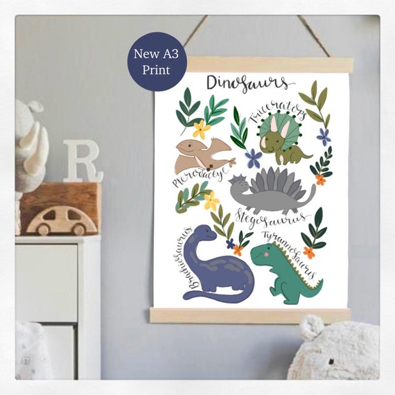 Dino, dinosaur print, A4, nursery, boys, bedroom, decor, watercolour, wall art
