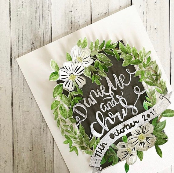 Anniversary papercut, colourful, flowers, watercolour, personalised, wedding day gift.
